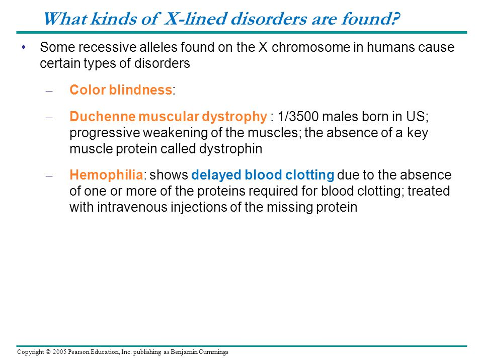 What kinds of X-lined disorders are found