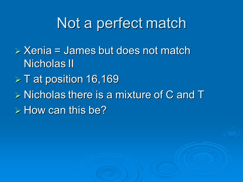 Not a perfect match Xenia = James but does not match Nicholas II