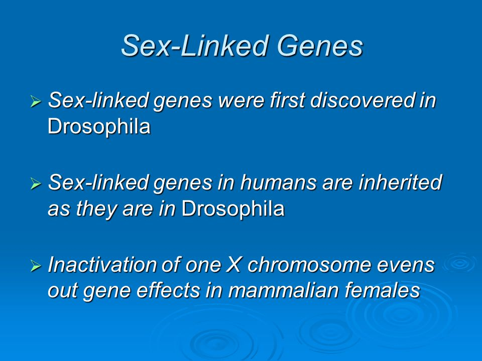 Sex-Linked Genes Sex-linked genes were first discovered in Drosophila