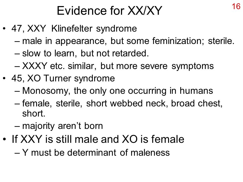 Evidence for XX/XY If XXY is still male and XO is female
