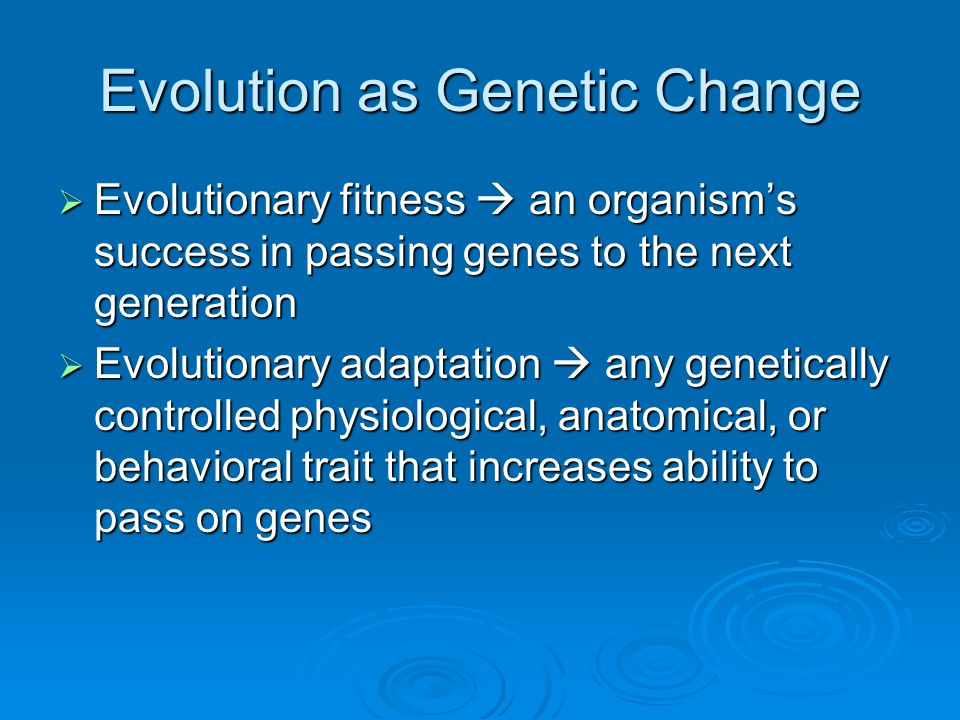 Evolution as Genetic Change
