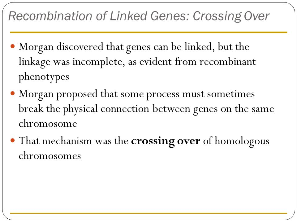 Recombination of Linked Genes: Crossing Over