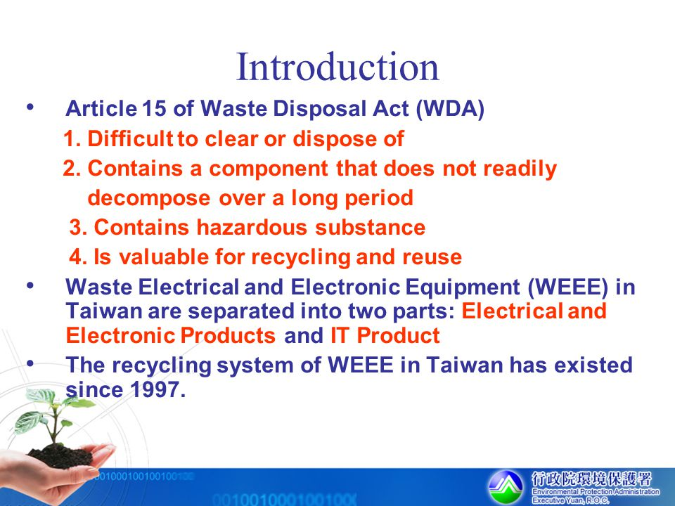 Introduction Article 15 of Waste Disposal Act (WDA)