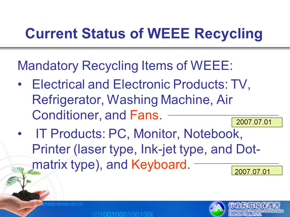 Current Status of WEEE Recycling