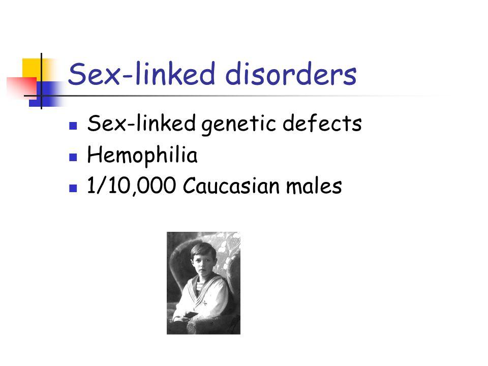 Sex-linked disorders Sex-linked genetic defects Hemophilia