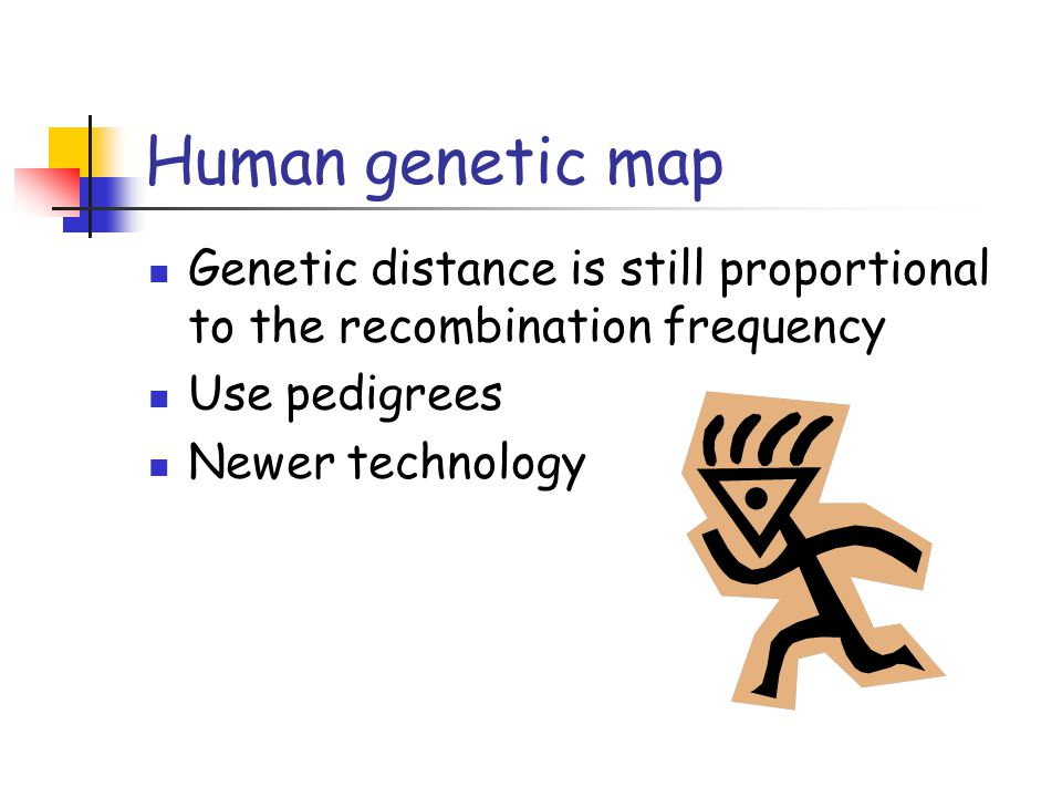 Human genetic map Genetic distance is still proportional to the recombination frequency. Use pedigrees.