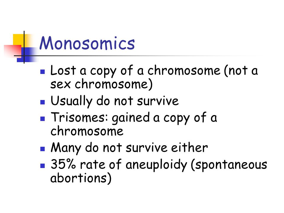 Monosomics Lost a copy of a chromosome (not a sex chromosome)