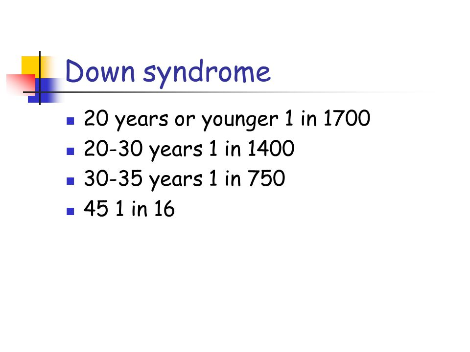 Down syndrome 20 years or younger 1 in 1700 20-30 years 1 in 1400