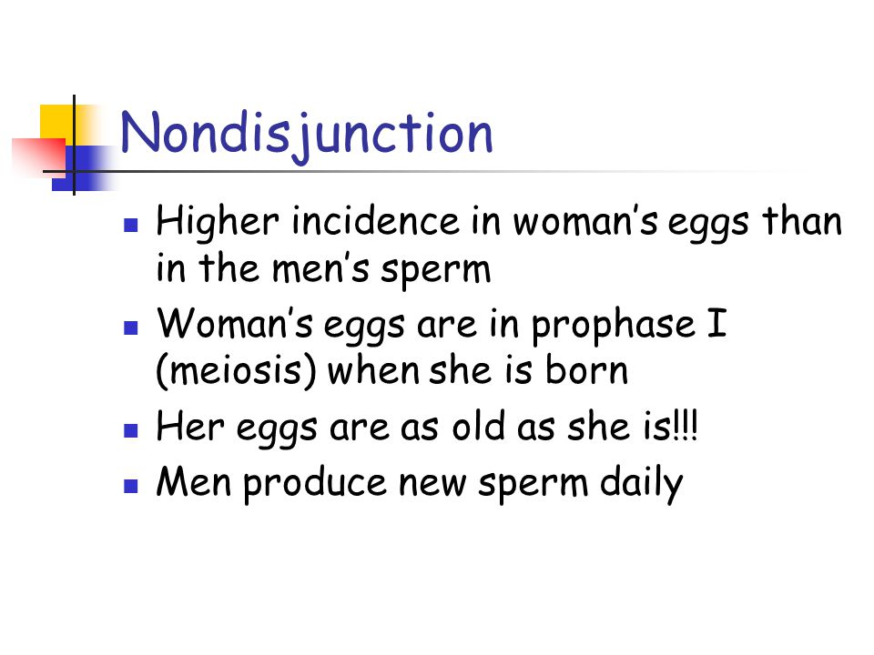 Nondisjunction Higher incidence in woman's eggs than in the men's sperm. Woman's eggs are in prophase I (meiosis) when she is born.