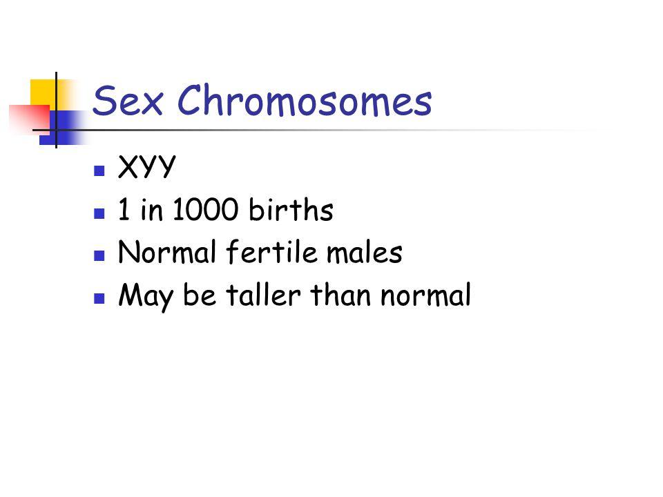 Sex Chromosomes XYY 1 in 1000 births Normal fertile males