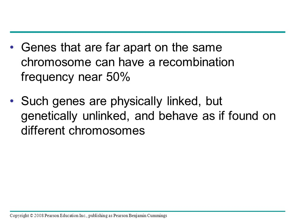 Genes that are far apart on the same chromosome can have a recombination frequency near 50%