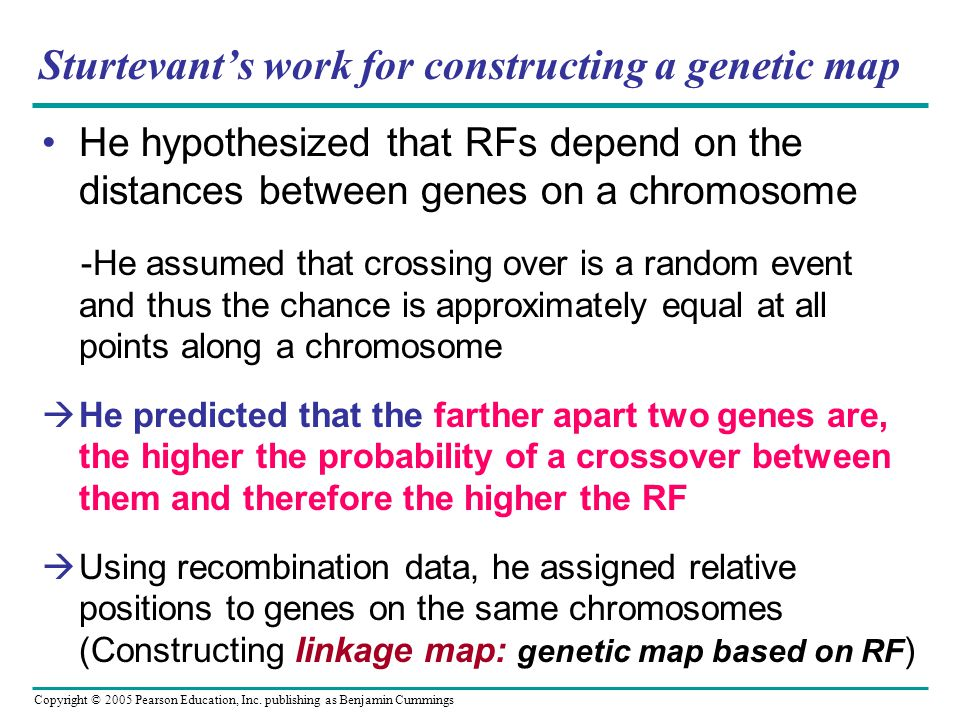 Sturtevant's work for constructing a genetic map