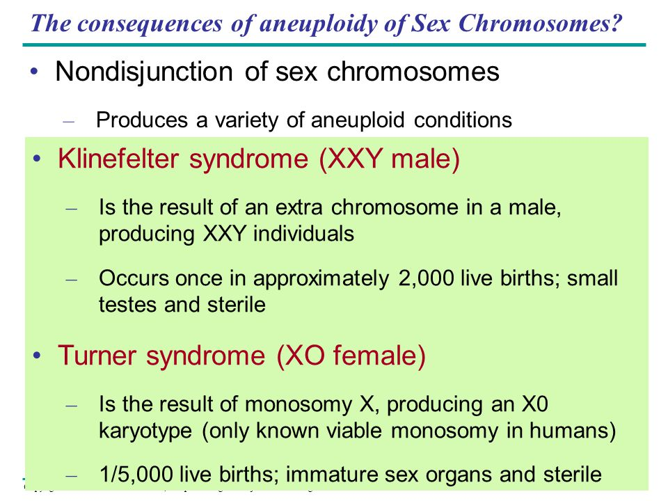 The consequences of aneuploidy of Sex Chromosomes
