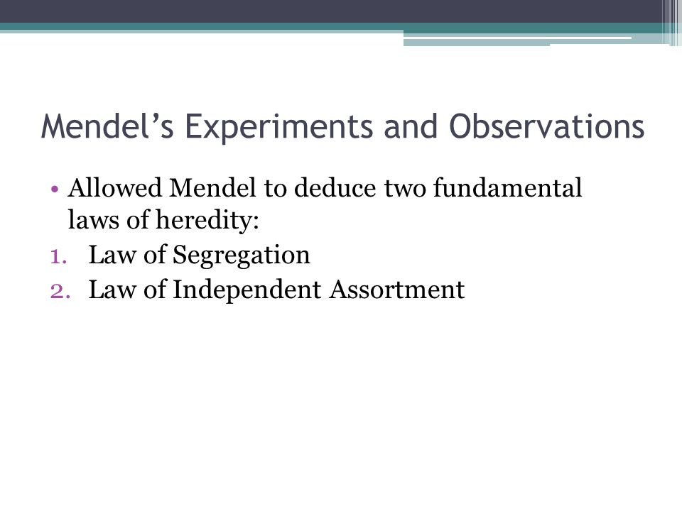 Mendel's Experiments and Observations