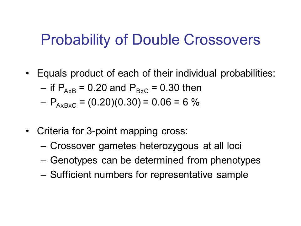 Probability of Double Crossovers
