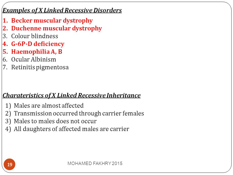Examples of X Linked Recessive Disorders