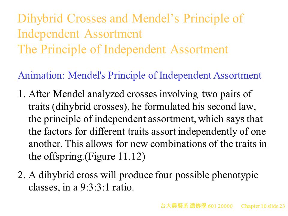 Dihybrid Crosses and Mendel's Principle of Independent Assortment The Principle of Independent Assortment
