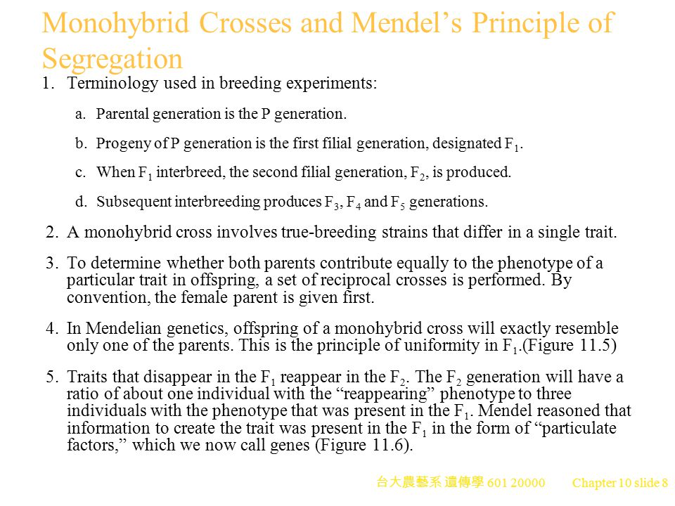 Monohybrid Crosses and Mendel's Principle of Segregation