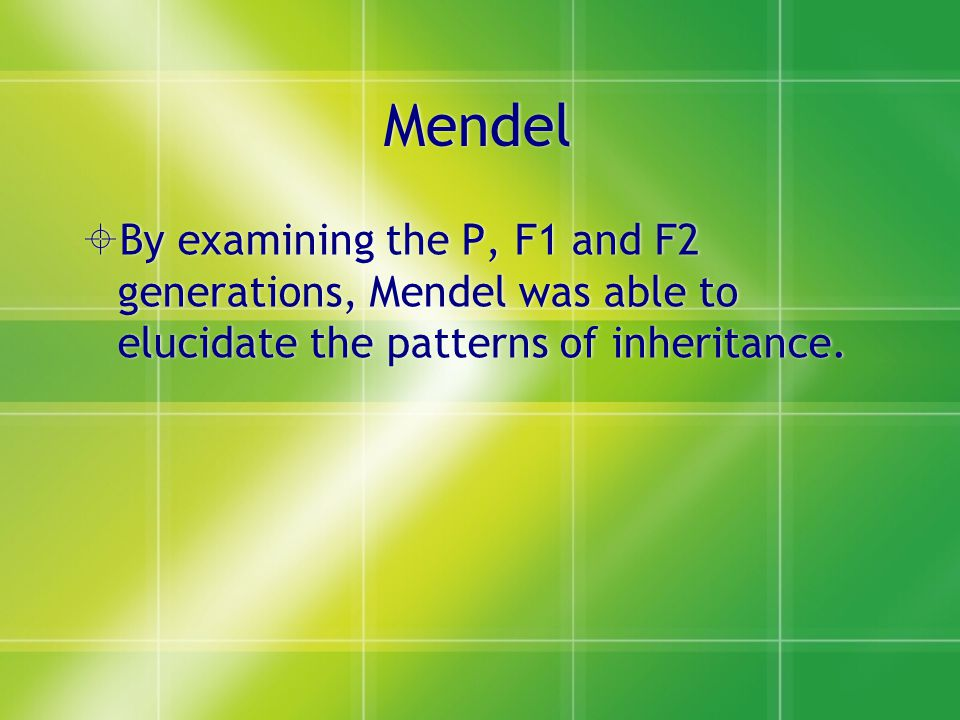 Mendel By examining the P, F1 and F2 generations, Mendel was able to elucidate the patterns of inheritance.