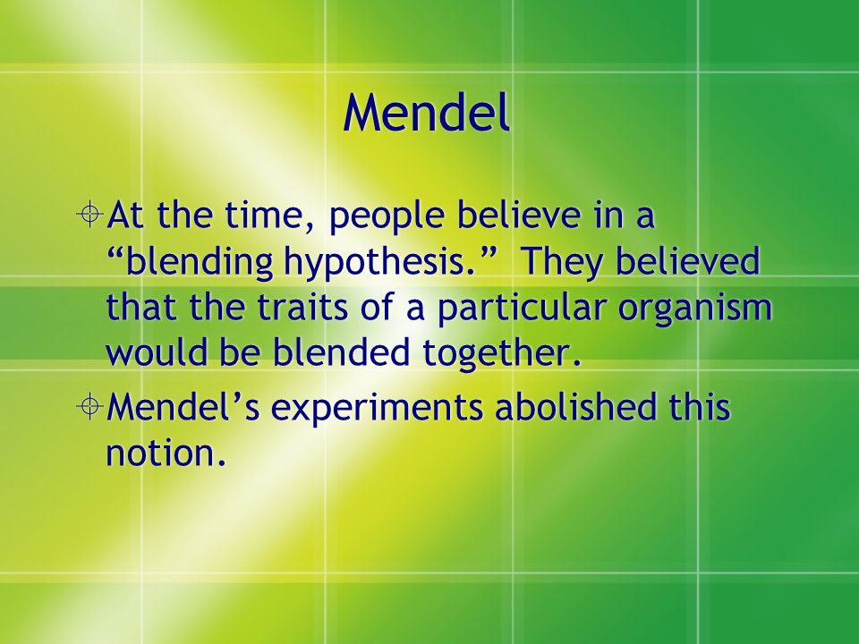 Mendel At the time, people believe in a blending hypothesis. They believed that the traits of a particular organism would be blended together.