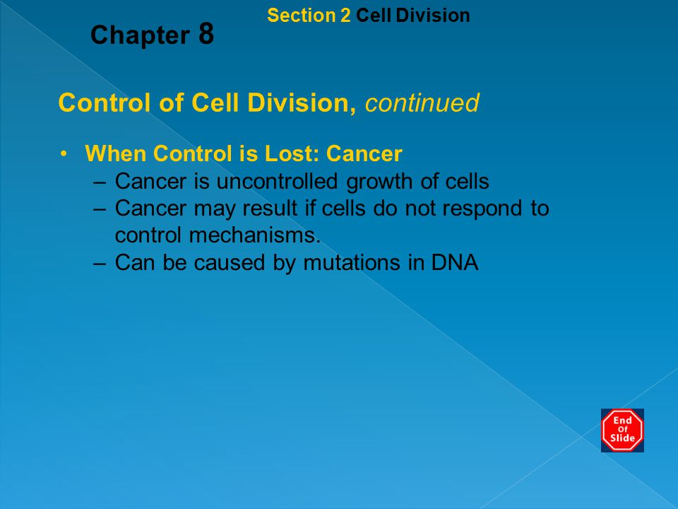 Control of Cell Division, continued