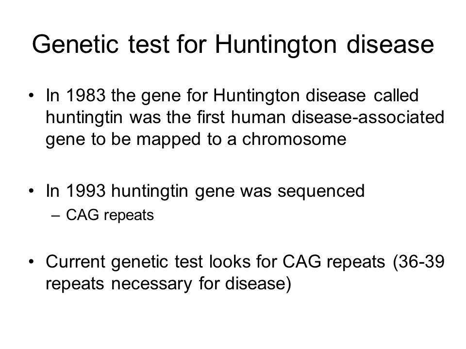 Genetic test for Huntington disease