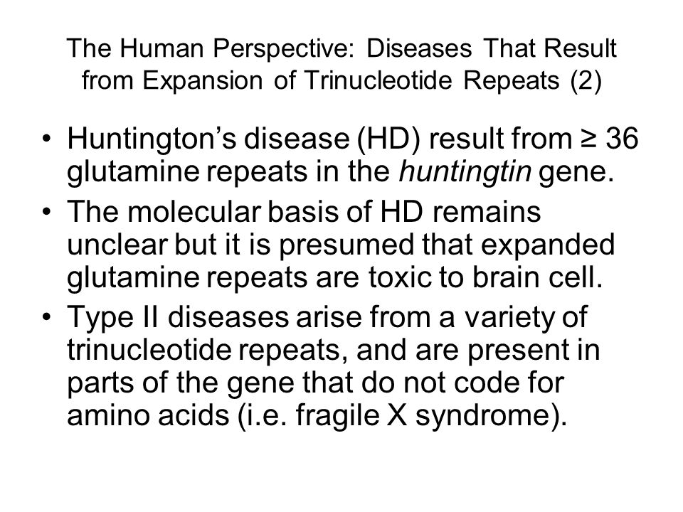 The Human Perspective: Diseases That Result from Expansion of Trinucleotide Repeats (2)