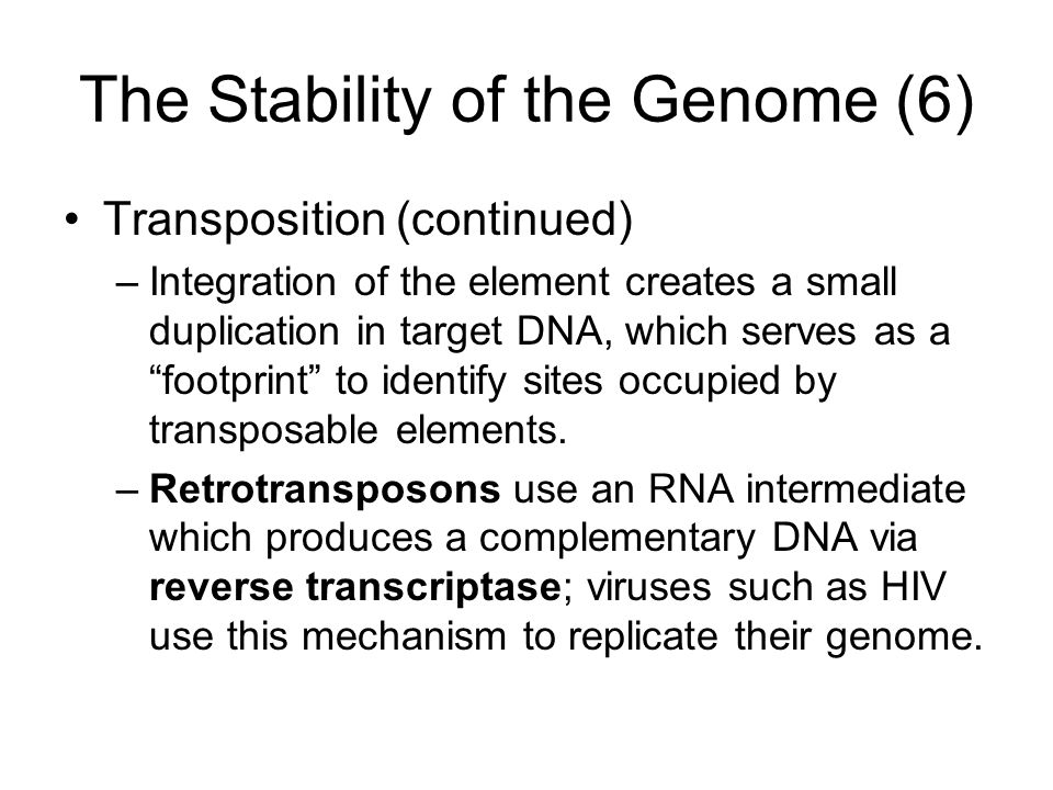 The Stability of the Genome (6)