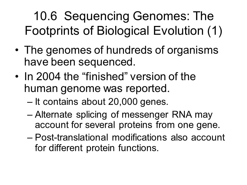 10.6 Sequencing Genomes: The Footprints of Biological Evolution (1)