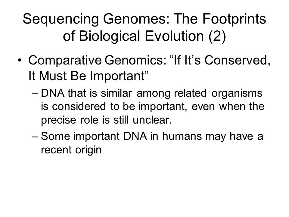 Sequencing Genomes: The Footprints of Biological Evolution (2)