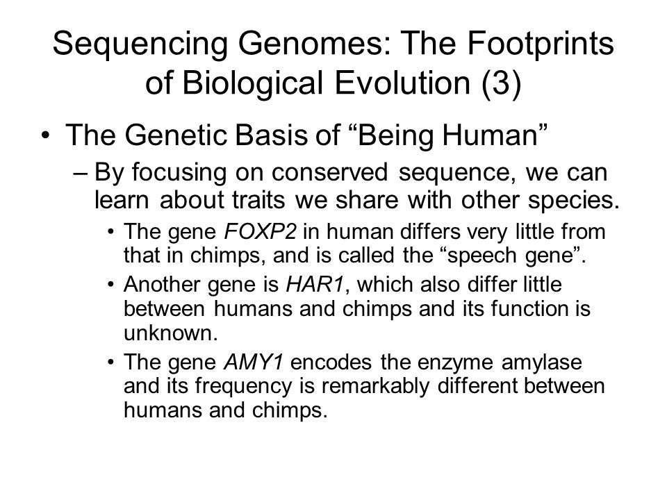 Sequencing Genomes: The Footprints of Biological Evolution (3)