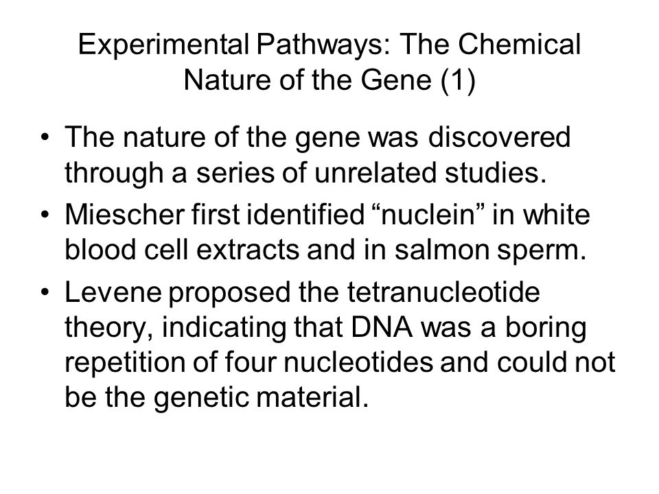 Experimental Pathways: The Chemical Nature of the Gene (1)