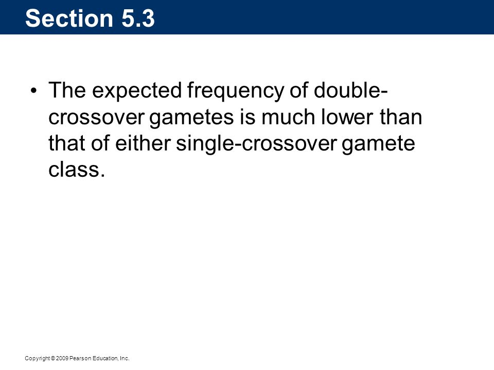 Section 5.3 The expected frequency of double-crossover gametes is much lower than that of either single-crossover gamete class.
