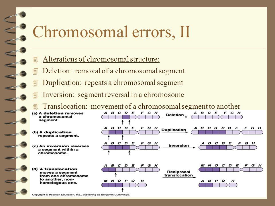 Chromosomal errors, II Alterations of chromosomal structure: