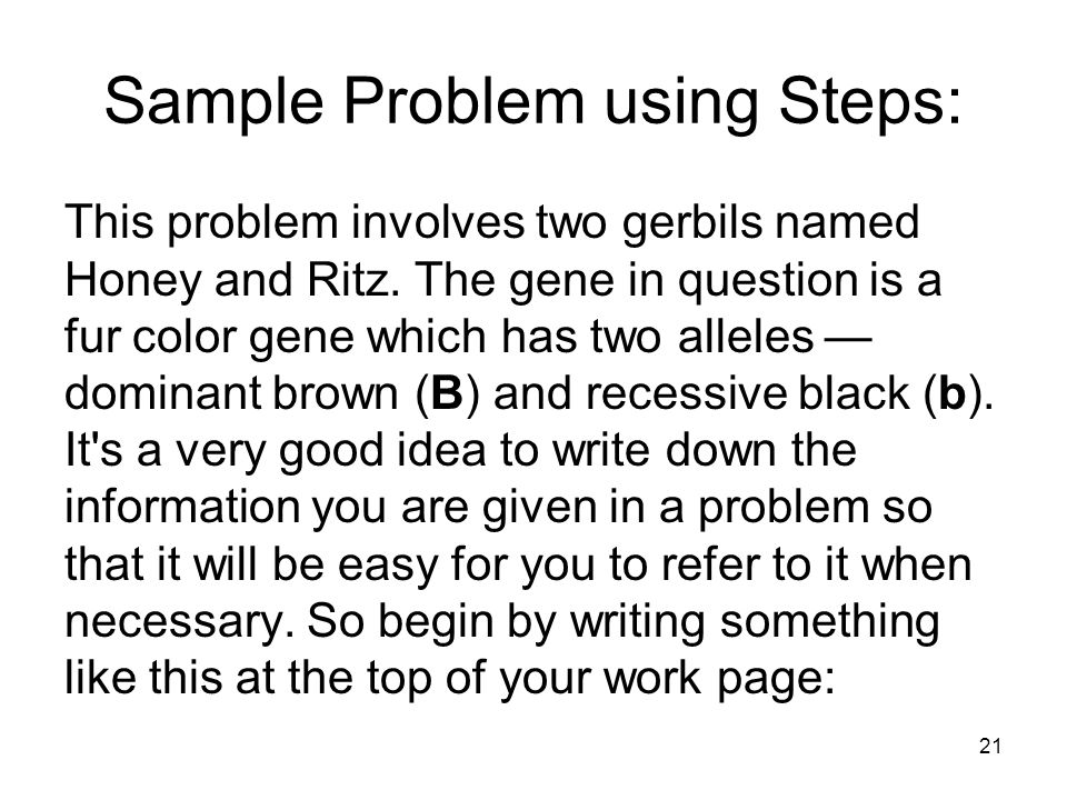 Sample Problem using Steps: