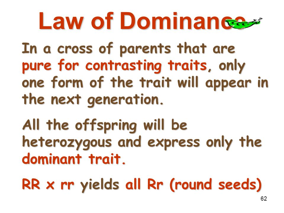 Mendelian Genetics 4/15/2017. Law of Dominance.
