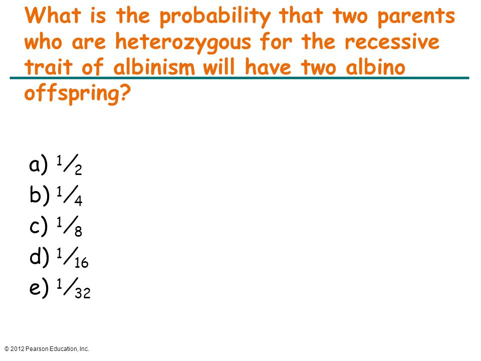 What is the probability that two parents who are heterozygous for the recessive trait of albinism will have two albino offspring