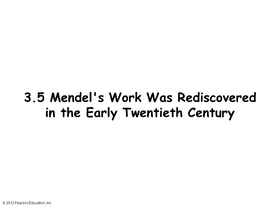 3.5 Mendel s Work Was Rediscovered in the Early Twentieth Century