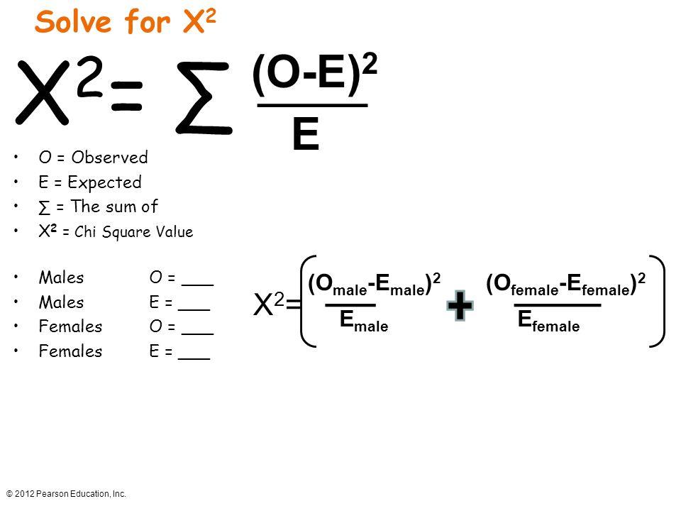X2= ∑ (O-E)2 E Solve for X2 X2= (Omale-Emale)2 (Ofemale-Efemale)2