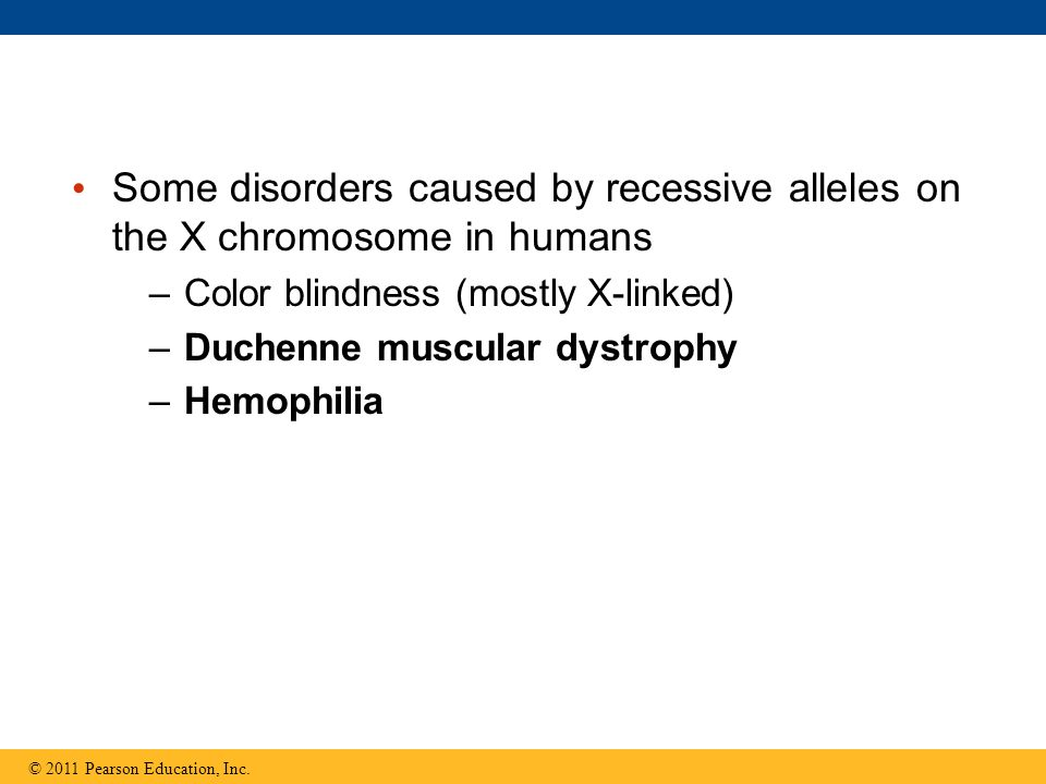 Some disorders caused by recessive alleles on the X chromosome in humans