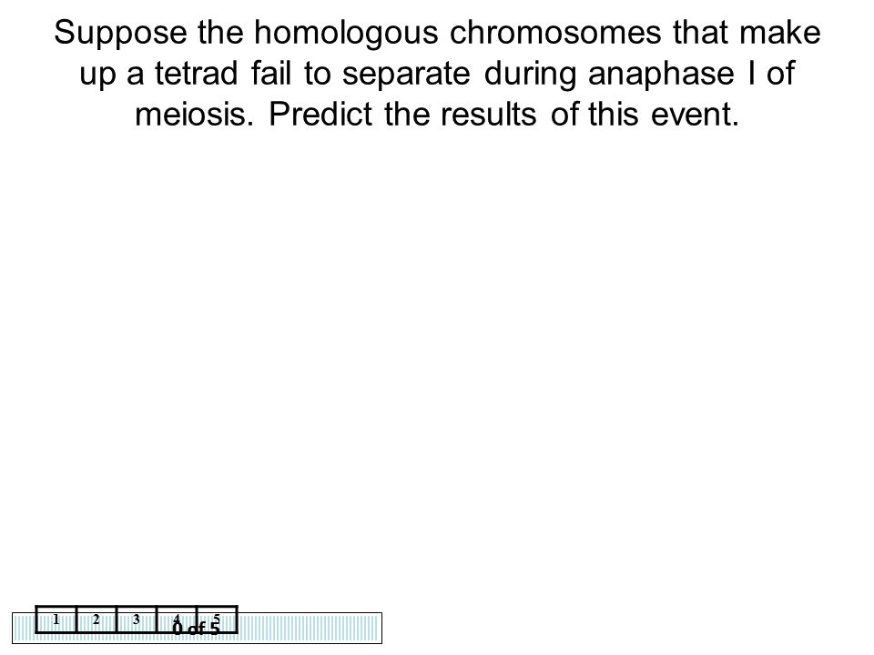 Suppose the homologous chromosomes that make up a tetrad fail to separate during anaphase I of meiosis. Predict the results of this event.