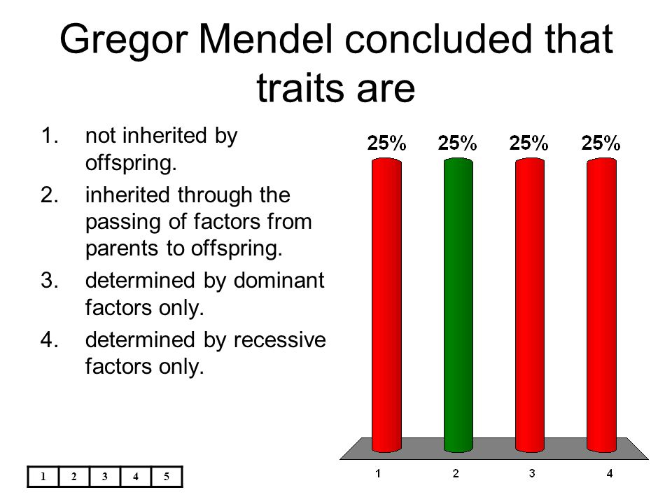 Gregor Mendel concluded that traits are