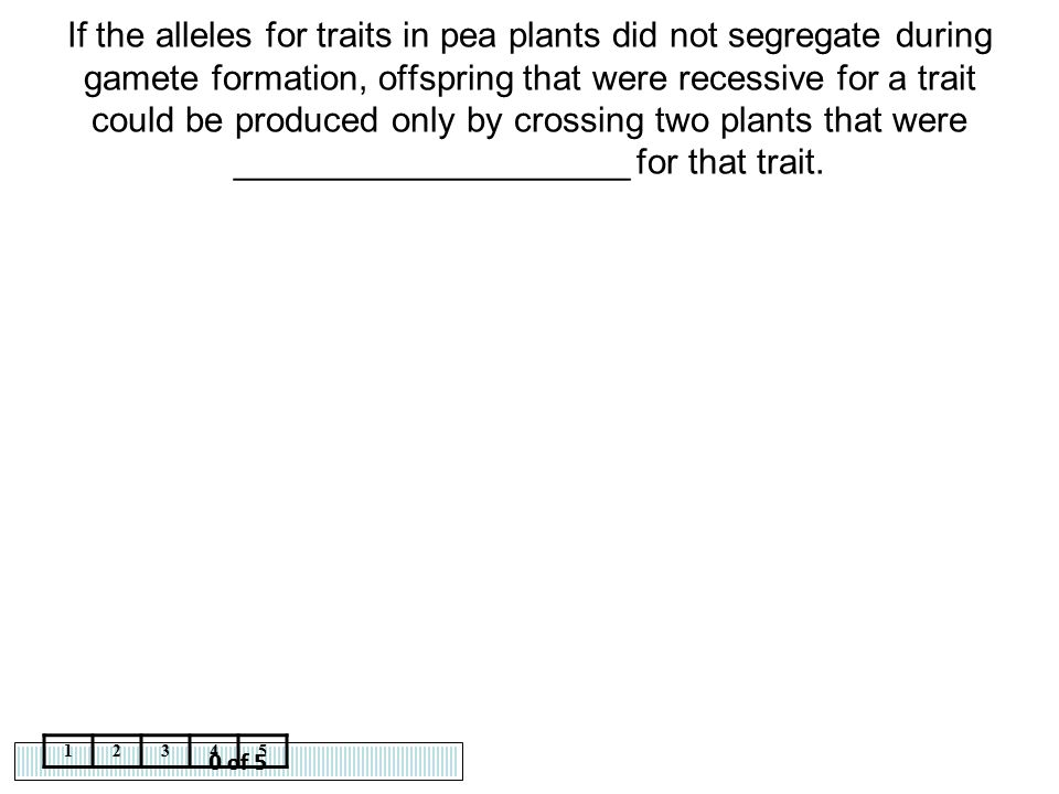 If the alleles for traits in pea plants did not segregate during gamete formation, offspring that were recessive for a trait could be produced only by crossing two plants that were ____________________ for that trait.