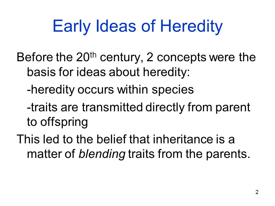 Early Ideas of Heredity