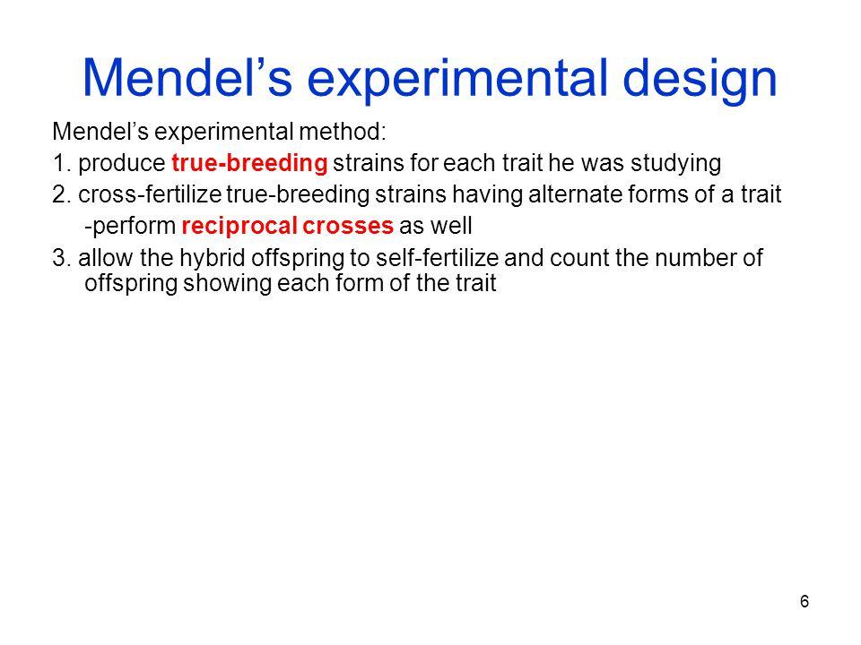Mendel's experimental design