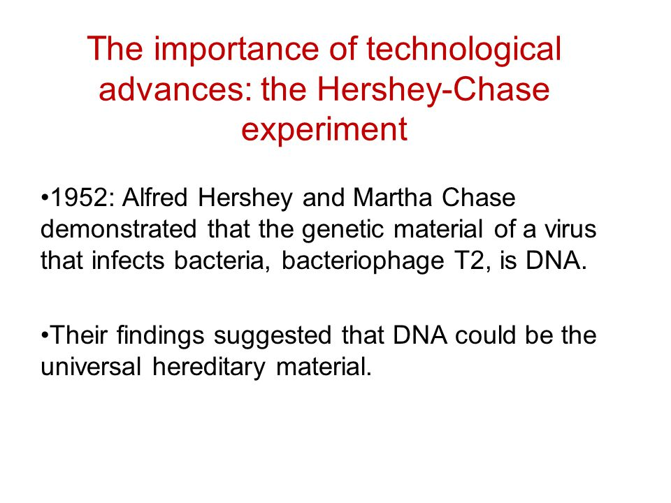 The importance of technological advances: the Hershey-Chase experiment