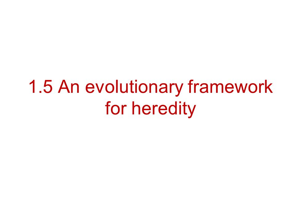 1.5 An evolutionary framework for heredity