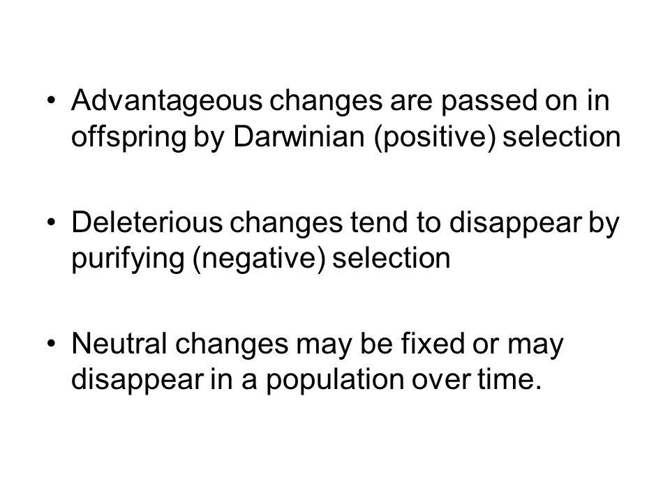 Advantageous changes are passed on in offspring by Darwinian (positive) selection