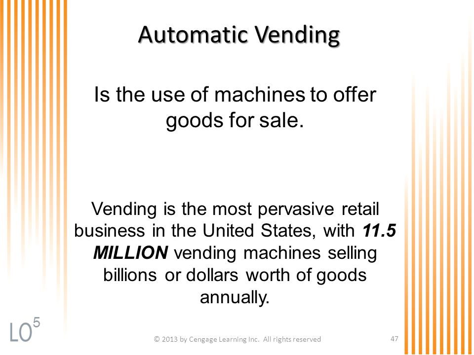 Automatic Vending Is the use of machines to offer goods for sale.