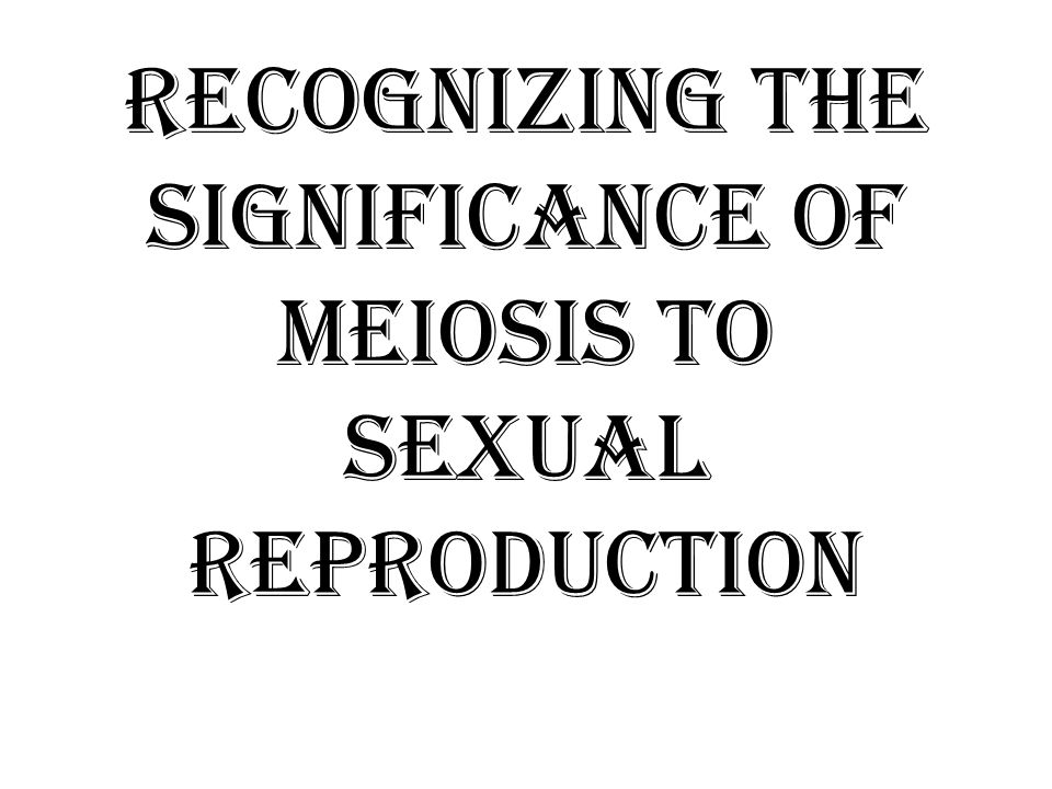 Recognizing the significance of meiosis to sexual reproduction
